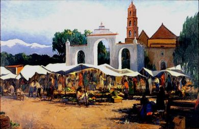 "Mexico - Print - Dia de Mercado - 24x36 giclee on canvas $625 with 1.5"" gallery wrap edge: click to enlarge"