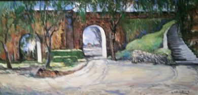 Mexico - Print - El Parque - now available in 25x50 print on repainted canvas with copper frame $2345: click to enlarge