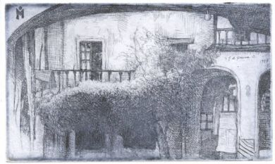 "Etching - El Patio 3""x 5"": click to enlarge"