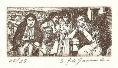 "Etching - The Gossips 1""x 2.5"": click to enlarge"