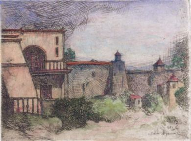 "Etching - Hacienda (color) - 2.5"" x 4"": click to enlarge"