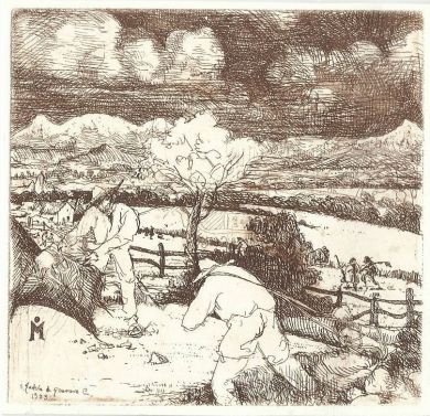 "Etching - The Harvest 4""x 4"": click to enlarge"
