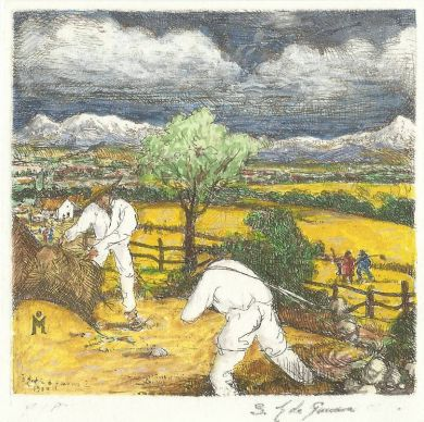 "Etching - The Harvest (color) - 4""x 4"": click to enlarge"