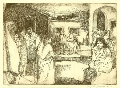"Etching - La Placita - 5""x 7"": click to enlarge"