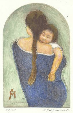 "Etching - Mother & Child (color) - 5""x 3.5"": click to enlarge"