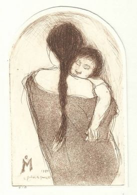 "Etching - Mother and Child - 5""x 3.5"": click to enlarge"