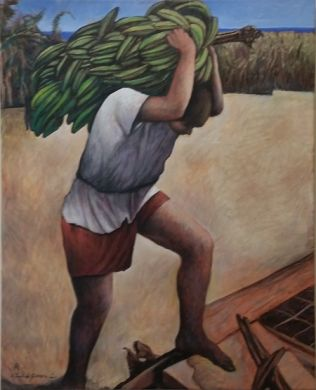 Mexico - print - Platanos - 30x24 repainted canvas, framed $1800: click to enlarge