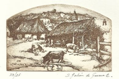 "Etching - Ranchito - 2""x 3.5"": click to enlarge"