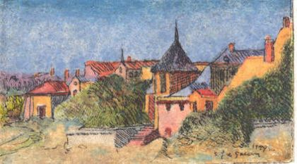 "Etching - Saumur (color) 1""x 2"": click to enlarge"