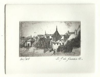 "Etching - Saumur - 1""x 2"": click to enlarge"