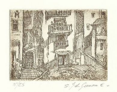 "Etching - Spanish Village 1.5""x 2"": click to enlarge"