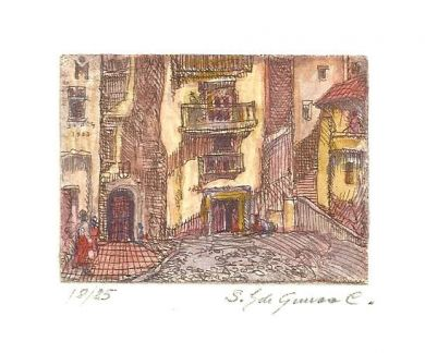 "Etching - Spanish Village (color)  1.5""x 2"" : click to enlarge"