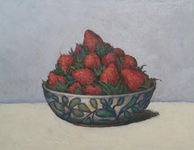 FRANCE - Strawberries on Pale Blue 11x14 - $2600: click to enlarge