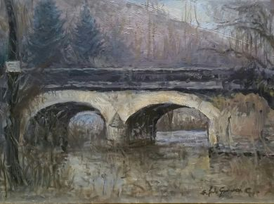 FRANCE - The Bridge 9x12 - $2200: click to enlarge