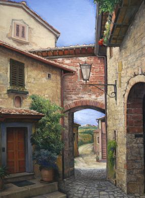 Italy - Print - Tuscan Courtyard - 60x48 gallery wrap canvas print available $2100: also 40x30  $1140.: click to enlarge