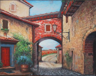 Italy - Print - Montefioralle - available in gallery 30x36 giclee print on canvas $1050. May be ordered on paper $75.: click to enlarge