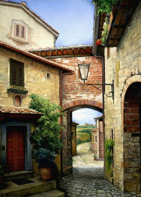 ITALY - Tuscan Courtyard 70x50 - $35,000: click to enlarge