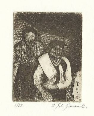 "Etching - Two Indian Women - 2""x 1"": click to enlarge"