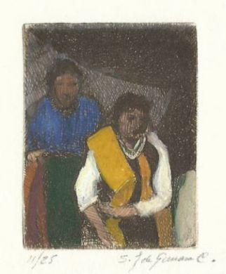 "Etching - Two Indian Women (color) - 2""x 1"": click to enlarge"