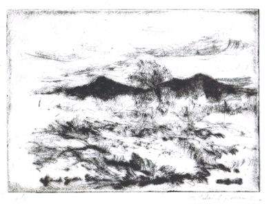 Etching - View of the Desert drypoint : click to enlarge