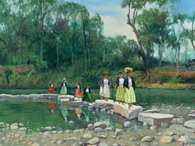 Mexico - Print - Women Crossing the River -  paper prints available: click to enlarge