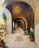 Mexico - Print - Market Arcades - 20x16 framed, repainted canvas $650 & 40x30 giclee/canvas $750