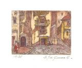 "Etching - Spanish Village (color)  1.5""x 2"""